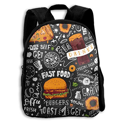 ADGBag Children Boys Girls Fast Food Backpack Shoulder Bag Book Scholl Travel Backpack Mochila para niños