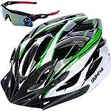 IZUMIYA 自転車 ヘルメット ロードバイク クロスバイク サイクリング 大人 超軽量 高剛性 大人用 サングラス セット (ホワイト×グリーン)
