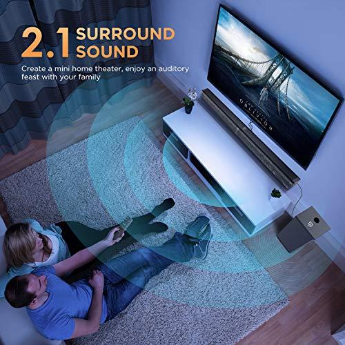 Bomaker Barre de Son 110 DB avec Subwoofer, TV Haut-Parleur, 100 W Soundbar 2.1 avec entrée Bluetooth 5.0/ Optique/AUX/USB/TF Card - Tapio V
