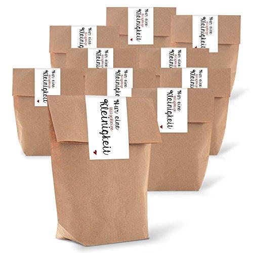 Logbuch-Verlag 25 kleine braune Geschenktüten + Aufkleber Herz rot DANKE Text Verpackung kleine Geschenke Mitgebseltüten Hochzeitstüte Geburtstagstüte Mitgebsel braun