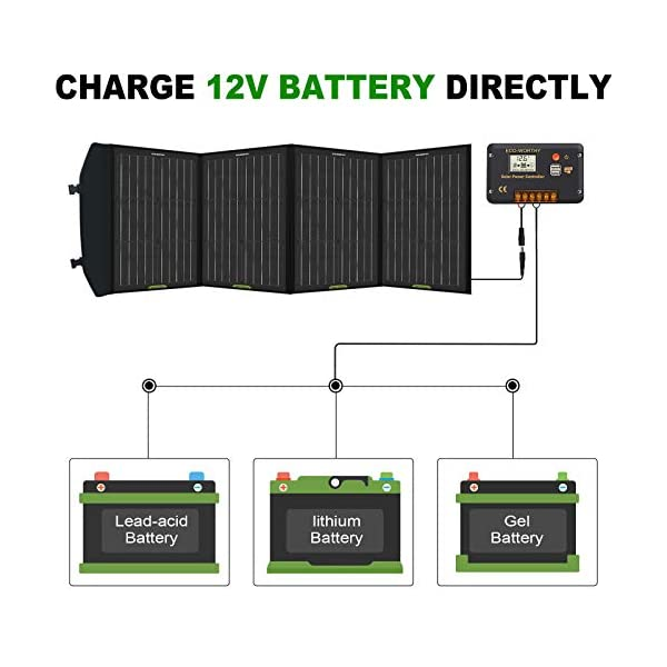 ECO-WORTHY 120W Foldable Solar Panel Charger for Portable Power Station and RV Battery, DC Output for Solar Generator…