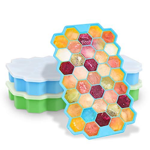 WILTEEXS 2 Packungen Eiswürfelformen aus lebensmittelechtem Silikon, LFGB-zertifiziert und BPA-frei, mit auslaufsicherem abnehmbarem Deckel, Schokolade, Whiskey, Cocktails