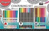 Maped 89741733pièces Kit de coloriage Y Compris Brosse, pointes Feutre Fineliner stylos, crayons de couleur et taille-crayon en métal