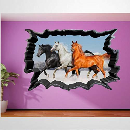 Calcomanía de vinilo con diseño de caballos salvajes y semental para transferencias de diseño en el hogar, murales de pared aplastados para pared, póster extraíble de 31 pulgadas bl204