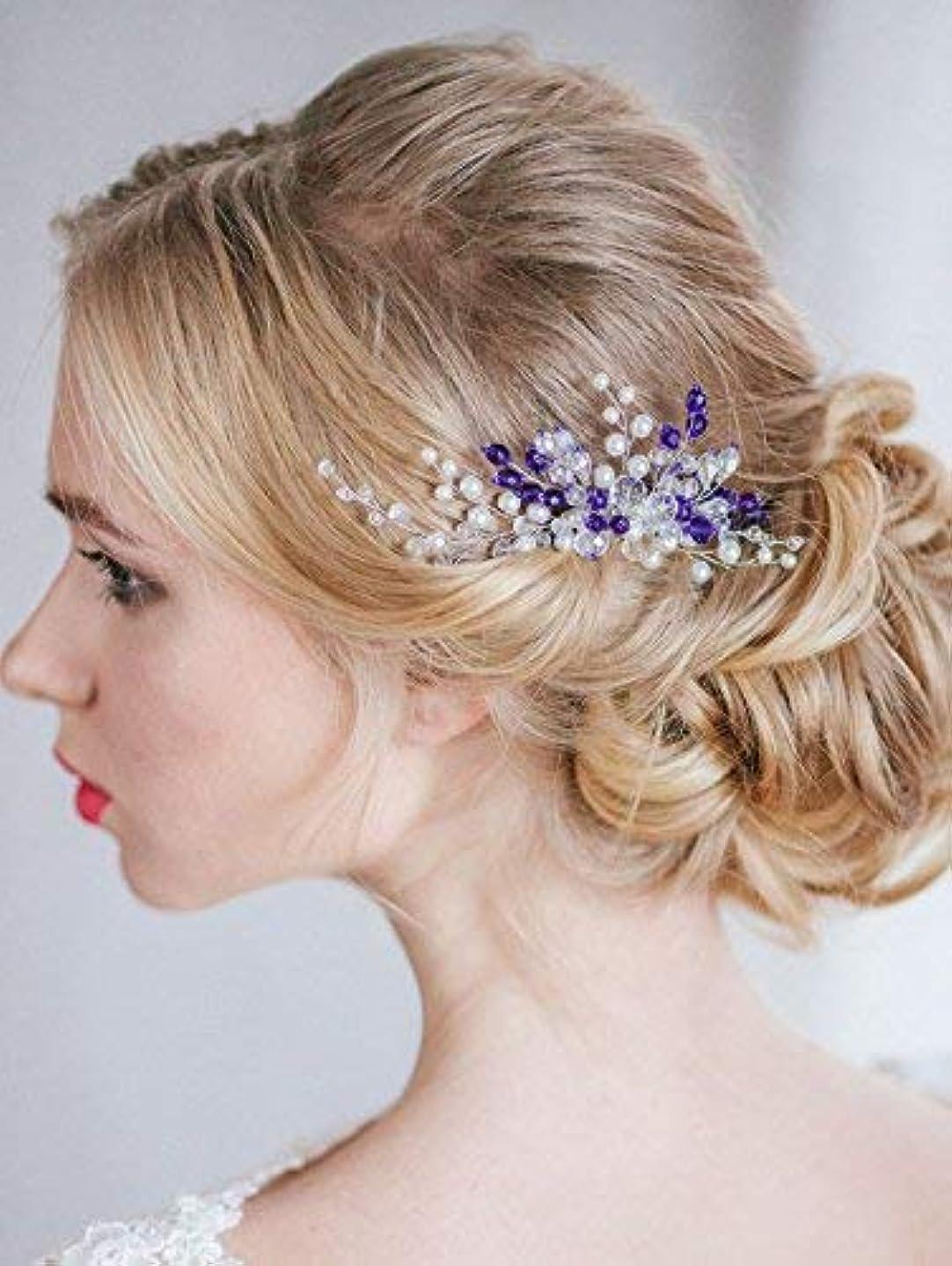 排泄する息切れ啓示FXmimior Bridal Wedding Vintage Crystal Rhinestone Vintage Hair Comb Hair Accessories Women Hair Jewelry [並行輸入品]