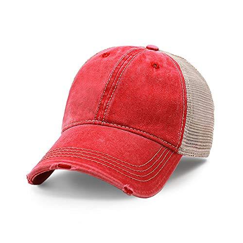 Vintage Distressed Trucker Hat Adjustable Back Unisex Headwear (Red)