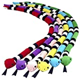 Kicko Striped Coral Snake Plush - 45 Inch - 6 Pack Assorted Colors - Giant Stuffed Animals for Kids, Sensory Role Play, Road Trips, Bedtime, Boy or Girl Birthday Gifts, Zoo Toys, and More