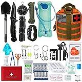 Kit de Supervivencia,Bushcraft Vivac Acampada,Militar Profesional de Emergencia,Montaña Excursión Senderismo al Aire Libre Linterna,Pedernal Navaja Viaje Acampar (6)