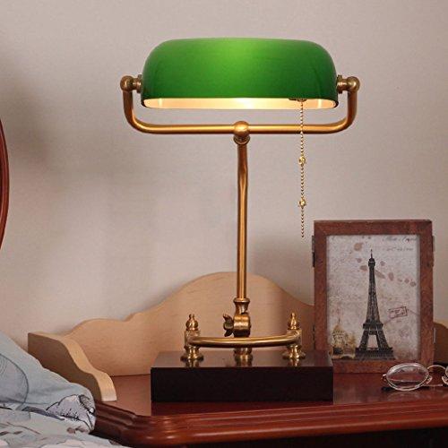 JXXDQ-Table lamp Klassische Banker Tischlampe mit grünem Glasschirm und Messingfuß Traditionelle antike Schreibtischleselampe E27 Pull Line Switch