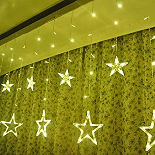 Grisha Digital Plastic 138 LEDs Star Standard Curtain String Lights with 8 Flashing Modes for Holiday Festival Christmas P...