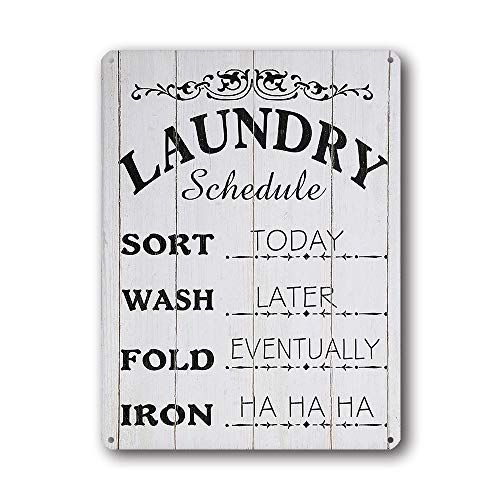 Goutoports Laundry Room Vintage Metal Sign Laundry Schedule White Decorative Signs Wash Room Home Decor Art Signs 7.9x11.8 Inch