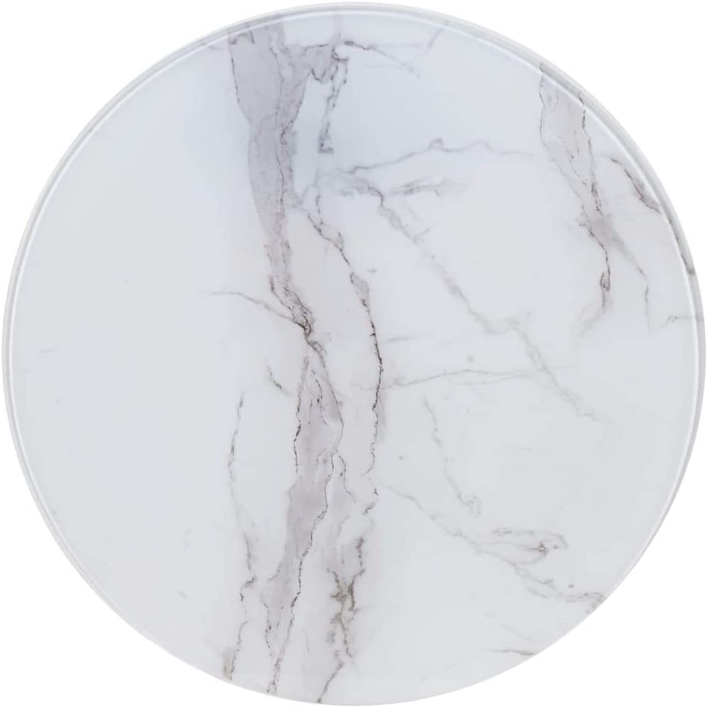 vidaXL Table Top Glass Top Replacement Table Top for Dining Table Coffee  Table Garden Table White Diameter 9 cm Glass in Marble Look