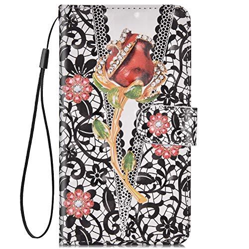 Robinsoni Fodral kompatibelt med Huawei P30 Lite fodral PU-läder fodral folio flip plånbok fodral med ställ handrem kortspår retro elegant anteckningsboksfodral, ond ros