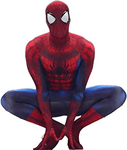 Nihiug Amazing Spider-Man Collants Cosplay Anime Perforhommece Siamois VêteHommests HalFaibleeen,rouge-L