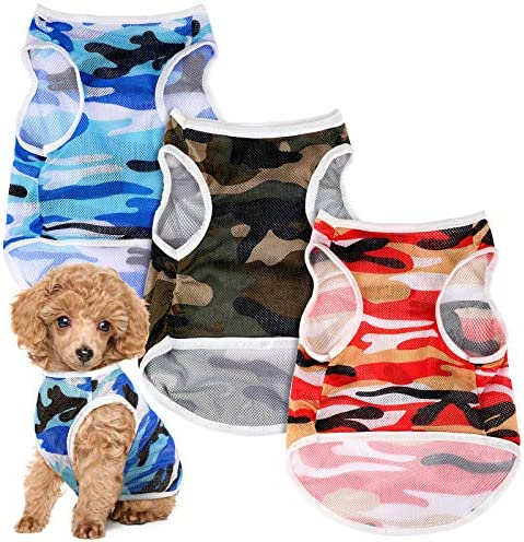 3 Pieces Dog Camouflage Print Vest Puppy Kitten Shirt Vest Pet T Shirt Pet Clothing Small Dog product image