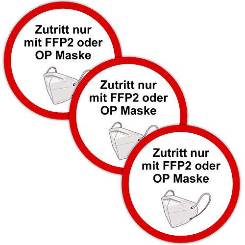 5 Stück Aufkleber FFP2 Aufkleber Mundschutz tragen für Firma Geschäft Betrieb Lokal Behörden wetterfest im Zuge des Corona Virus COVID 19