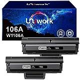 Uniwork 106A Reemplazo de Cartuchos de tóner Compatible para HP 106A W1106A para HP Laser 107w 107a 107r MFP 135wg 135a 135r 135w MFP 137fwg 137fnw Impresora (2 Negro, con Chip)