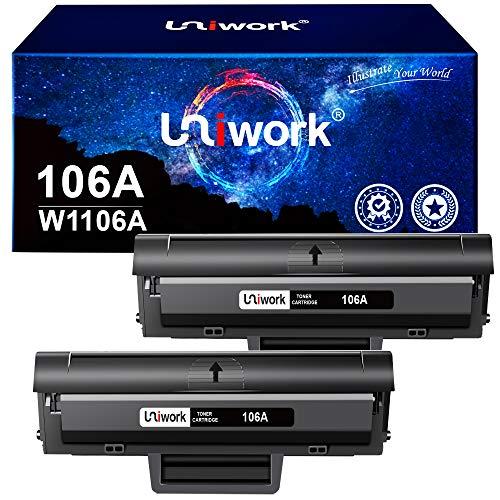 Uniwork 106A Cartucce Toner Compatibili per HP 106A W1106A per HP Laser 107w 107a 107r MFP 135wg 135a 135r 135w MFP 137fwg 137fnw (2 Nero, con Chip)