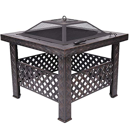 QILIN Outdoor Stove, Courtyard Barbecue Table, Charcoal Home Barbecue Grill, Heating Brazier, for Camping Picnic Bonfire Patio Backyard Garden Beaches Park, 66cm*66cm*50cm