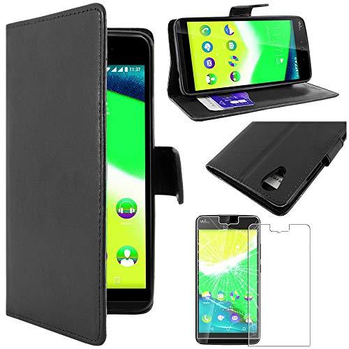 ebestStar - kompatibel mit Wiko Rainbow Jam 4G Hülle Kunstleder Wallet Hülle Handyhülle [PU Leder], Kartenfächern, Standfunktion, Schwarz + Panzerglas Schutzfolie [Phone: 143.1 x 71.4 x 8.7mm, 5.0'']
