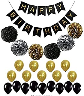 BLACK and GOLD PARTY DECORATIONS Perfect Adult Birthday Decorations |Happy Birthday Banner Black,Gold Balloons and Paper P...