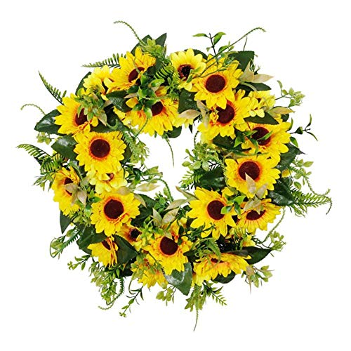 YinFengTing 55cm Artificial Sunflower Wreath Decorative Autumn Decoration Wreath Garland with Green Leaves Home Decoration (Yellow)