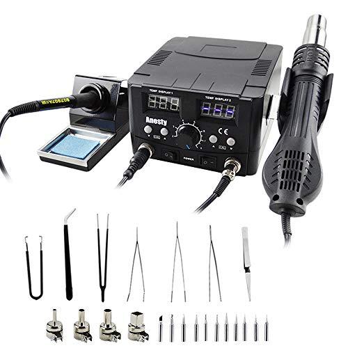 Estación de soldadura 2 en 1 estación de soldador, estación de soldador, estación de desoldado, aire caliente, SMD LCD, soldadura digital 750 W