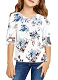 Sidefeel Girls Cute Short Flare Sleeve Tops Blouse Floral Print T Shirts Birthday Shirt Fashion Outfits Size 10-11 White