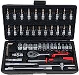 KS Tools 917.0648 1/4' CLASSIC Steckschlüssel-Satz, 48-teilig, Sechskant, FlankTraction-Profil, matt satiniert, Chrom Vanadium, Sechskantschlüssel, Umschaltknarre, Bit-Stecknuss, Verlängerungen, Sechskantstecknuss etc. in stabilem Kunststoffkoffer