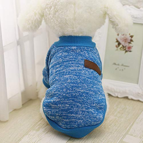 Idepet Pet Dog Classic Knitwear Sweater,Fleece Coat for Small,Medium,Large Dog,Warm Pet Dog Cat Clothes,Soft Puppy Customes (XS, Blue)