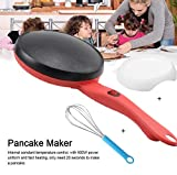 Portable Electric Crepe Maker Cordless, Crepe Pan 8 Inch Maker Griddle Crepe Pan with Non-Stick Coating for Crepes, Blintzes, Pancakes, Bacon, Tortillas - Free Gift Batter Pot & Egg Beater