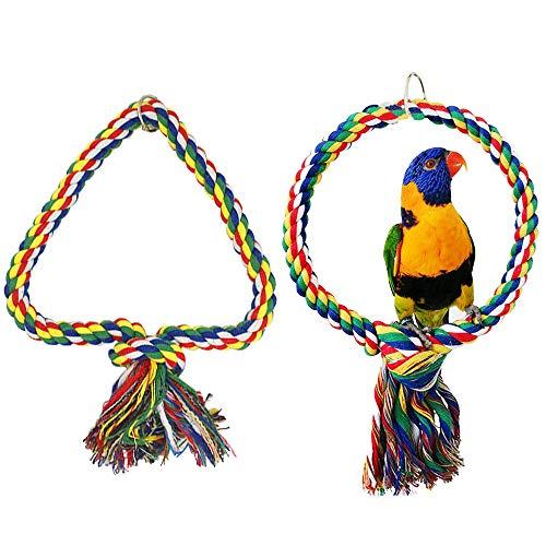afdg Cuerda de Columpio de Pájaro, 2 Piezas Cuerda de Percha de Pájaro, Cuerda de Algodón de Juguete para Masticar Loro, Circle and Triangle para Escalada de Loros (Color)
