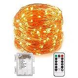 Cadena con 100 luces led resistentes al agua con cable de cobre y mando a distancia. 10 metros de leds para interior y exterior para Navidad, bodas o fiestas, protección IP65