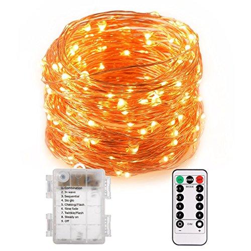 100leds impermeabile LED Copper String Lights con telecomando, 10m LED Fairy String Lights Indoor e Outdoor per Natale/matrimoni/feste IP65 bianco caldo