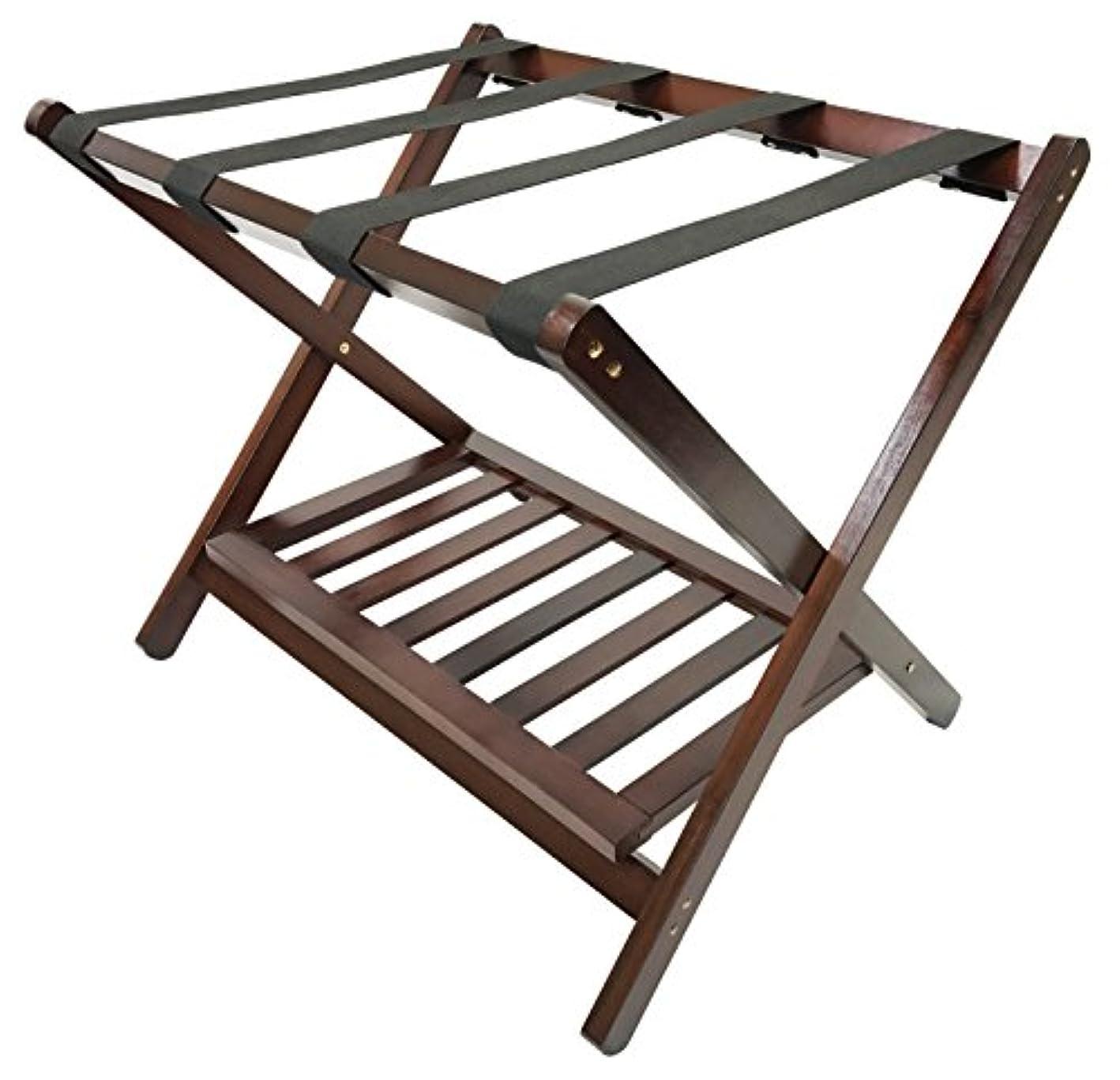 Deluxe Folding Wooden Luggage Rack with Shoe Shelf, Walnut Finish, Hotel Style