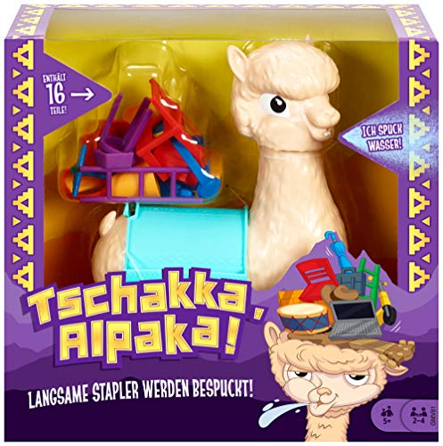 Mattel Games GMV81 - Tschakka Alpaka lustiges Kinderspiel und Partyspiel ab 5 Jahren, Partyspiele für 2-4 Spieler, deutschsprachig