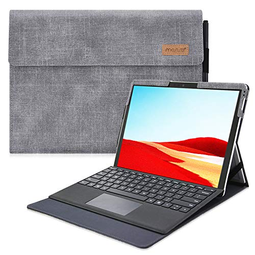 MOSISO Case Compatible with Microsoft 2019 Surface Pro X 13 inch, Ultra Slim PU Leather Portfolio Multi Angle Sleeve Magnetic Protective Tablet Cover with Pencil Holder & Back Pocket, Gray