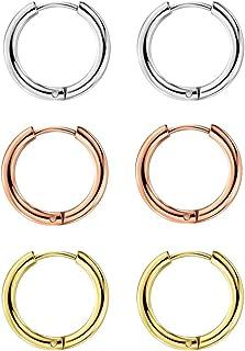 316L Surgical Stainless Steel Huggie Hoop Earrings 8mm/10mm Cartilage Helix Lobes Daith Conch Rook Septum Rings Ear Pierc...