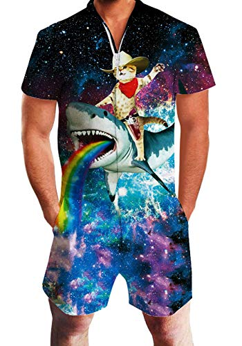 Mens Short Sleeve Overalls Captain Cat Riding Shark Printed One Piece Slim Fit Outfits Bro Short Sleeve Overalls 1980S Clothing Funny Suits Galaxy Space Cargo Shorts