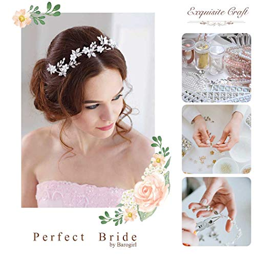 Barogirl Bride Wedding Headband Crystal Flower Headpiece Silver Bridal Hair Accessories for Women