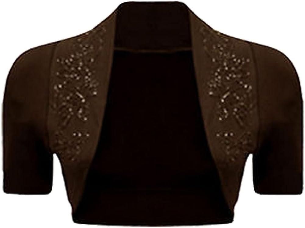 Ladies Womens Ribbed Neckline Bolero Shrug Cap Sleeve Beaded Cotton Shrug