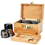 Stash Box Combo ( 2021 Upgraded ) - Accessories Kit, Locking Bamboo Box with Grinder, UV Glass Stash Jar, Bamboo Box with Lock