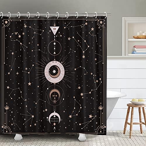 RosieLily Black Moon Duschvorhang Astrologie Duschvorhänge Sternbild Duschvorhang-Set Sonne & Mond Badvorhang Mondphase Galaxie Badezimmer Dekor mit 12 Haken, 183 x 183 cm