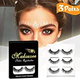 3D False Eyelashes Extension, Maksuzee Long Lashes Extensions with Natural Thick Look Women's Make Up Handmade Soft Fake Eye lash