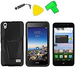 Heavy Duty Hybrid w Kickstand Phone Cover Case Cell Phone Accessory + LCD Screen Protector Guard + Extreme Band + Stylus Pen + Yellow Pry Tool For Straight Talk Tracfone NET10 Huawei Pronto LTE H891L / Huawei Ascend SnapTo G620-A2 LTE (T-Stand Black Black)