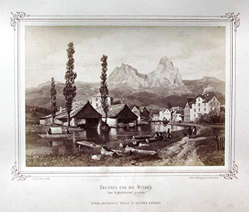 Brunnen und die Mythen. Vom Waldstätterhof gesehen. - Mythen Brunnen Schweiz Waldstätterhof Otto Frölicher Foto photo Gemälde