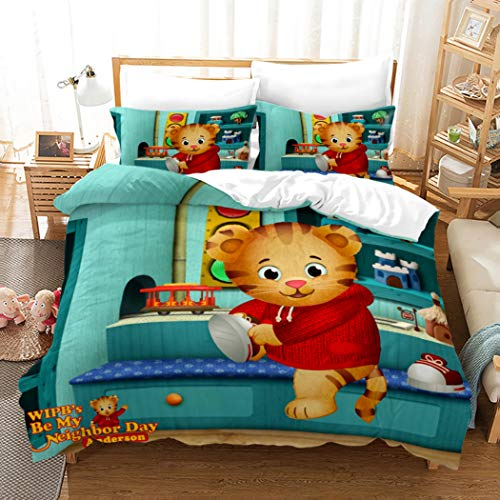 Ntioyg Daniel Tiger Good Dreams 3 Piece Full Bed Set Includes Duvet Cover and Pillowcase Kids' Toddler Children's Bedding Features Super Soft Fade Resistant Microfiber
