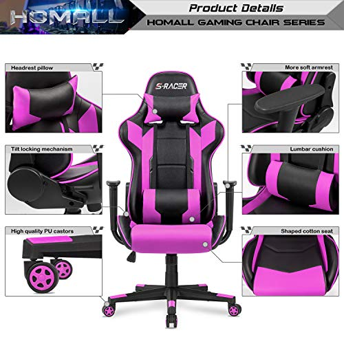 Homall Gaming Chair Office Chair High Back Computer Chair Leather Desk Chair Racing Executive Ergonomic Adjustable Swivel Task Chair with Headrest and Lumbar Support (Purple)