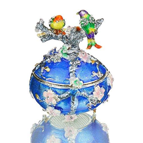 H & D Vintage Style Love Bird Colorful Strass Schmuck Schmuckkästchen/Musikspieluhr Fabergé-Ei Edelsteinbesetztes Kleine Box Decor Jewelry Holder Organizer