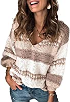 Zereesa Farbblock Pullover Damen Strickpullover Farbblock Grobstrick Strickpullover V-Ausschnitt Oberteile Sweater...